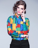 Student retro colors long sleeve Casual shirt for women