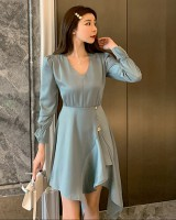 Light ladies slim long sleeve autumn pinched waist dress