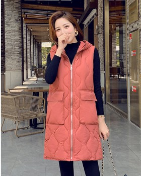 Slim student waistcoat cotton long cotton coat for women
