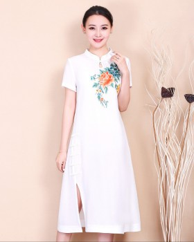 Large yard Chinese style embroidered slim summer dress