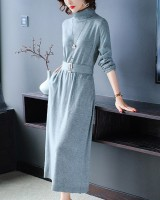 Knitted long dress autumn and winter sweater for women