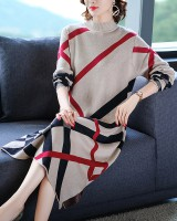 Autumn plaid long sweater dress slim knitted dress for women