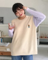 Pullover lovely embroidery mixed colors sweater