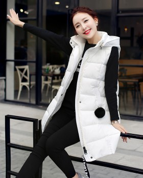 Korean style cotton thick coat down long vest for women
