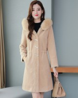 Slim hooded fur coat fox fur winter coat for women