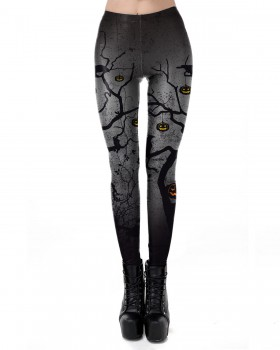 Halloween printing European style pumpkin leggings