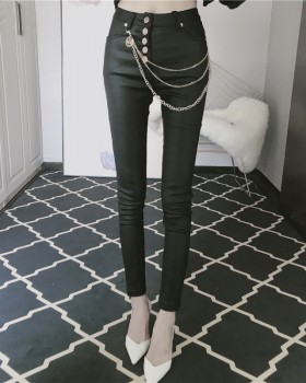 Breasted slim feet elasticity leather pants