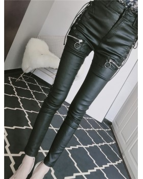 Autumn and winter zip slim feet bandage leather pants
