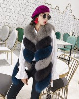 Long fox fur waistcoat winter slim coat for women
