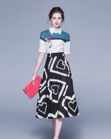 Splice printing shirt high waist skirt 2pcs set