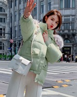 Loose large fur collar coat student cotton coat for women