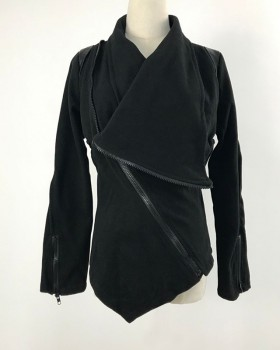 Autumn and winter zip lapel long sleeve black coat for women