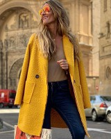 Plush long sleeve loose overcoat long woolen coat for women