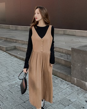 Retro V-neck autumn dress temperament slim high waist vest