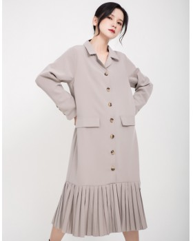 Small lapel autumn long sleeve stitching dress for women