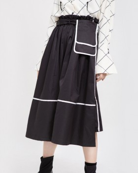 Minority long high waist waist-bag autumn white skirt