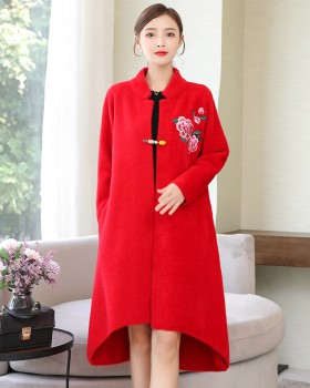 Mink velvet long shawl autumn and winter cashmere coat