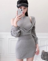 Slim winter sweater bat sleeve dress 2pcs set