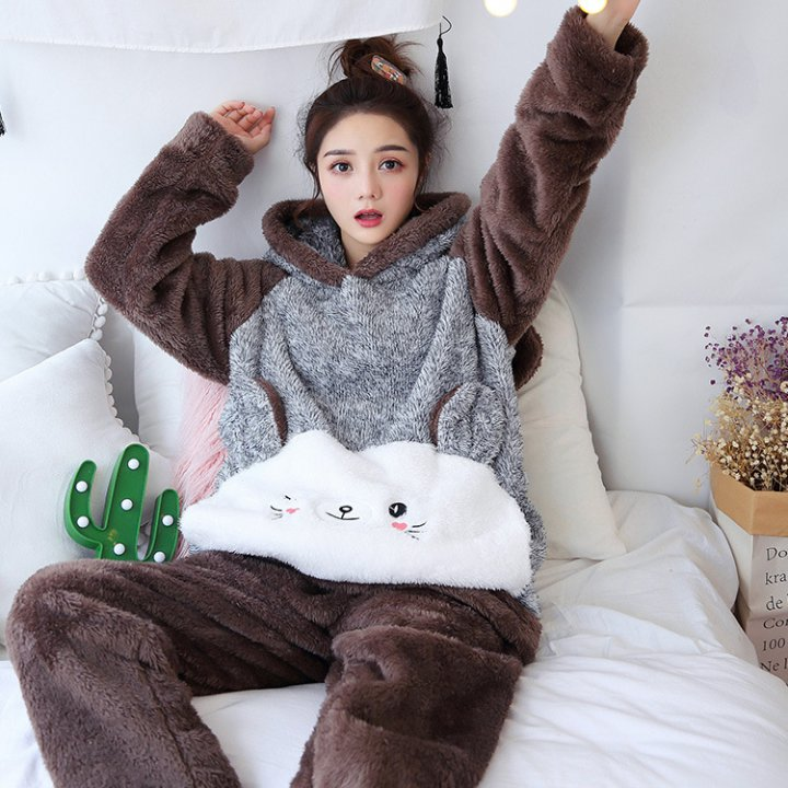 Autumn and winter flannel sweet pajamas a set for women