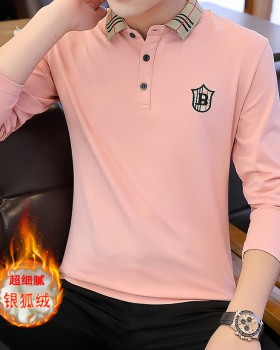 Autumn and winter lapel T-shirt thermal shirts for men