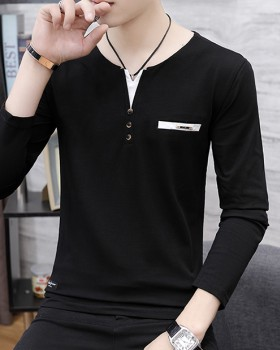 V-neck youth pullover autumn and winter slim T-shirt for men