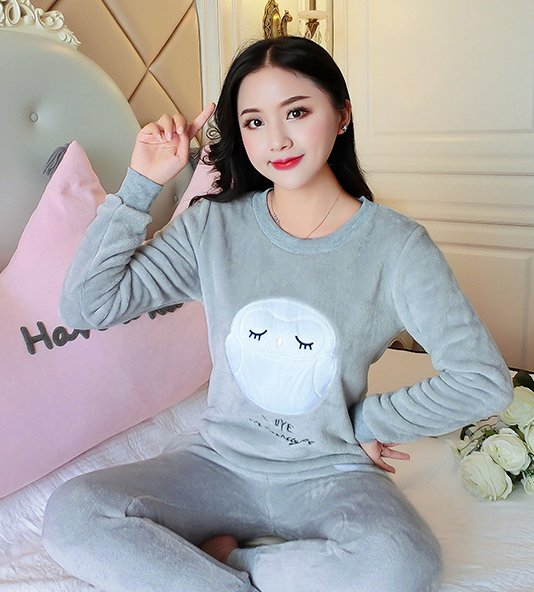 Coral velvet pajamas 2pcs set for women