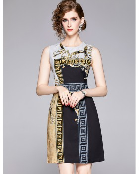 All-match autumn temperament slim printing sleeveless dress
