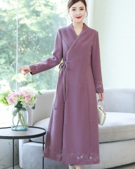 Retro woolen coat Chinese style dress for women