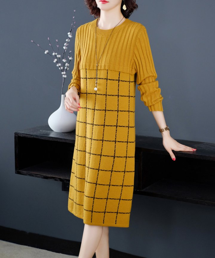 Plaid bottoming shirt long sleeve dress for women