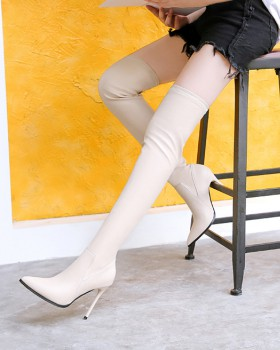 Pointed women's boots stovepipe thigh boots