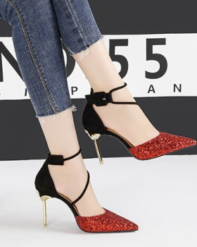 Sequins high-heeled shoes European style sandals for women