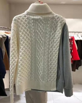 Loose splice Pseudo-two fashion Korean style sweater for women