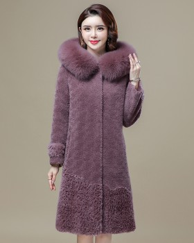 Loose fashionable fur coat winter thermal coat for women