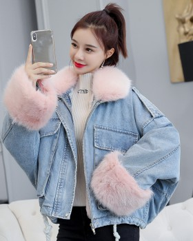 Winter loose liner jacket thick denim cotton coat for women