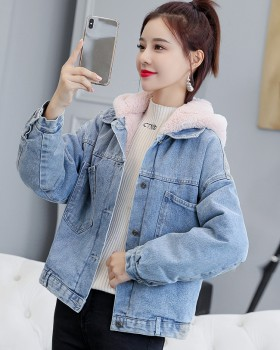 Plus velvet loose coat hooded winter cotton coat