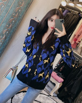 Lazy knitted sweater autumn and winter loose cardigan for women