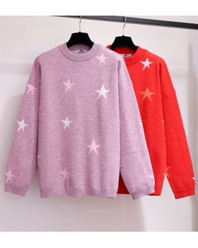 Autumn fat sister star slim loose large yard sweater for women