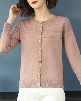 Autumn and winter cardigan round neck sweater for women