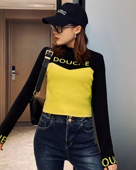 Pullover letters tops autumn mixed colors bottoming shirt