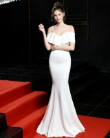 Wedding slim dress red long evening dress for women