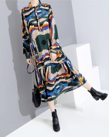 Casual fashion printing autumn dress for women