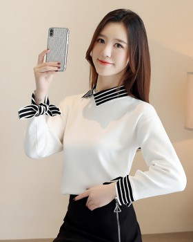Stripe winter splice slim shirt collar thick sweater