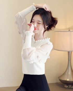 Splice V-neck flowers tops chiffon stereoscopic sweater