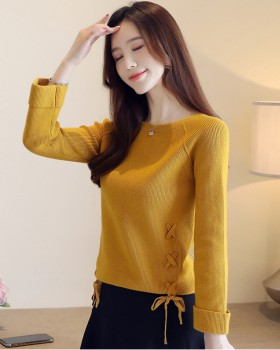 Bow thick frenum tops Korean style winter sweater for women