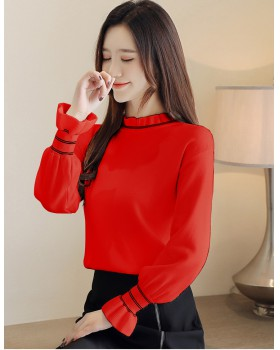 Temperament bottoming shirt lotus leaf collar sweater