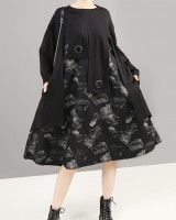 Japanese style loose long sleeve autumn dress