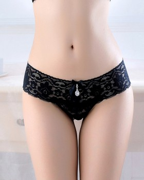 Transparent low-waist briefs tracelessness lace T-back for women