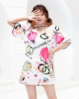 Cartoon vacation printing swimwear 3pcs set for women