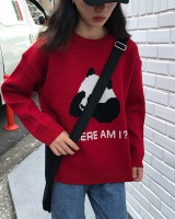 Round neck pullover panda sweater