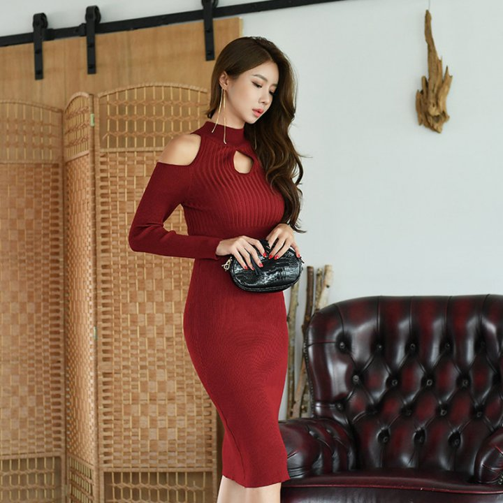 Korean style sexy winter strapless package hip dress